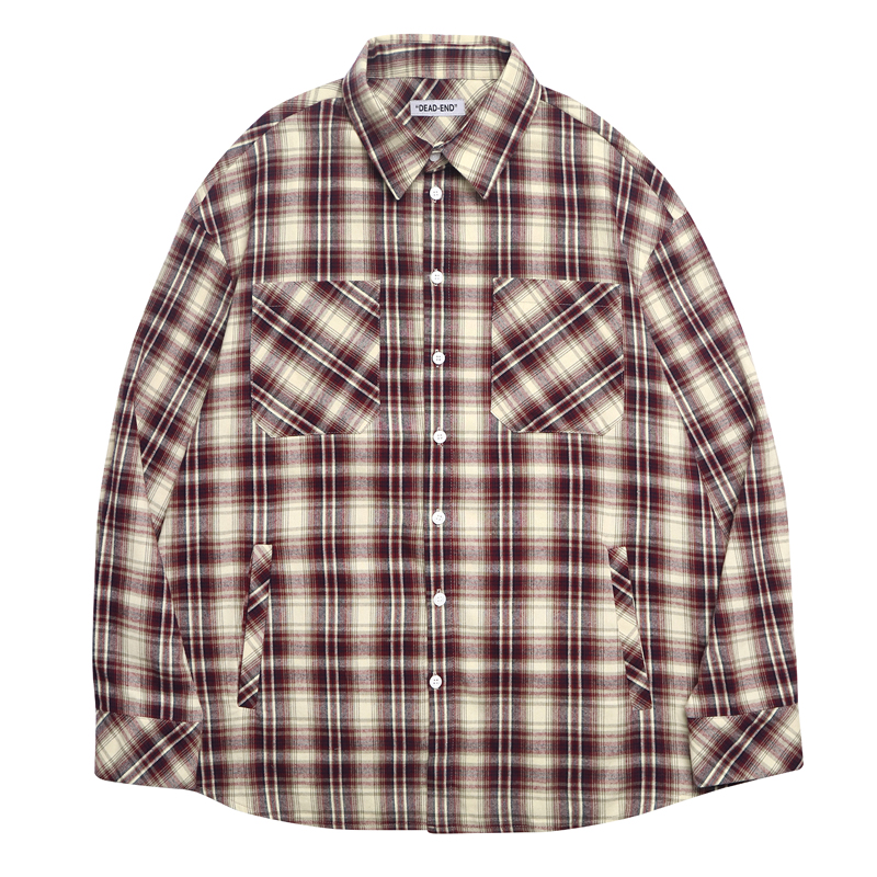 [DEADEND] BURGUNDY BEIGE POCKET SHIRTS