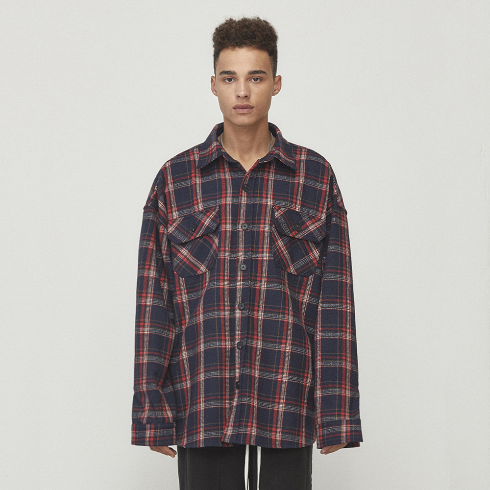 OVERSIZED CHECK SHIRT (NAVY)