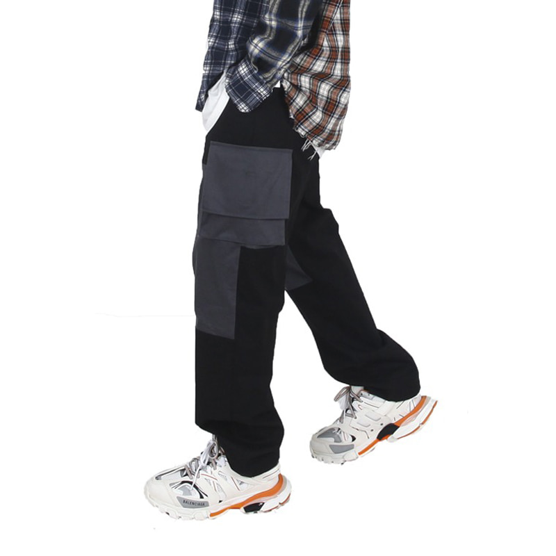 TWOTONE CARGO PANTS (BLACK)