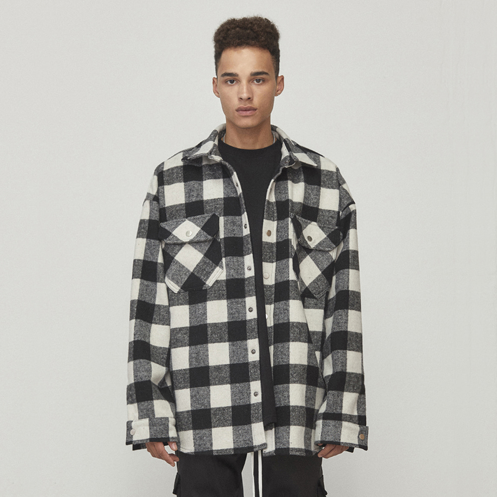 OVERSIZED SHIRT JACKET (BLACK/WHITE)