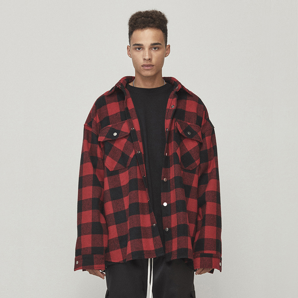 OVERSIZED SHIRT JACKET (RED/BLACK)