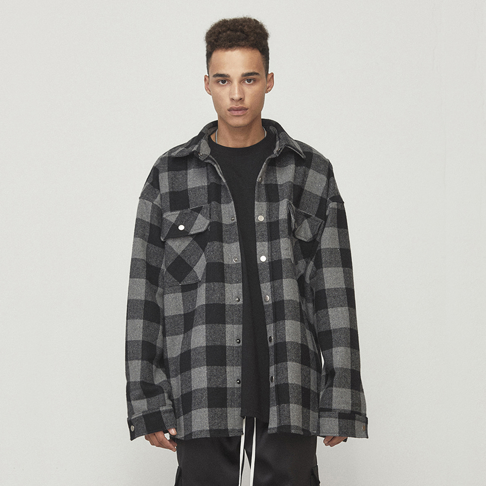 OVERSIZED SHIRT JACKET (GREY/BLACK)