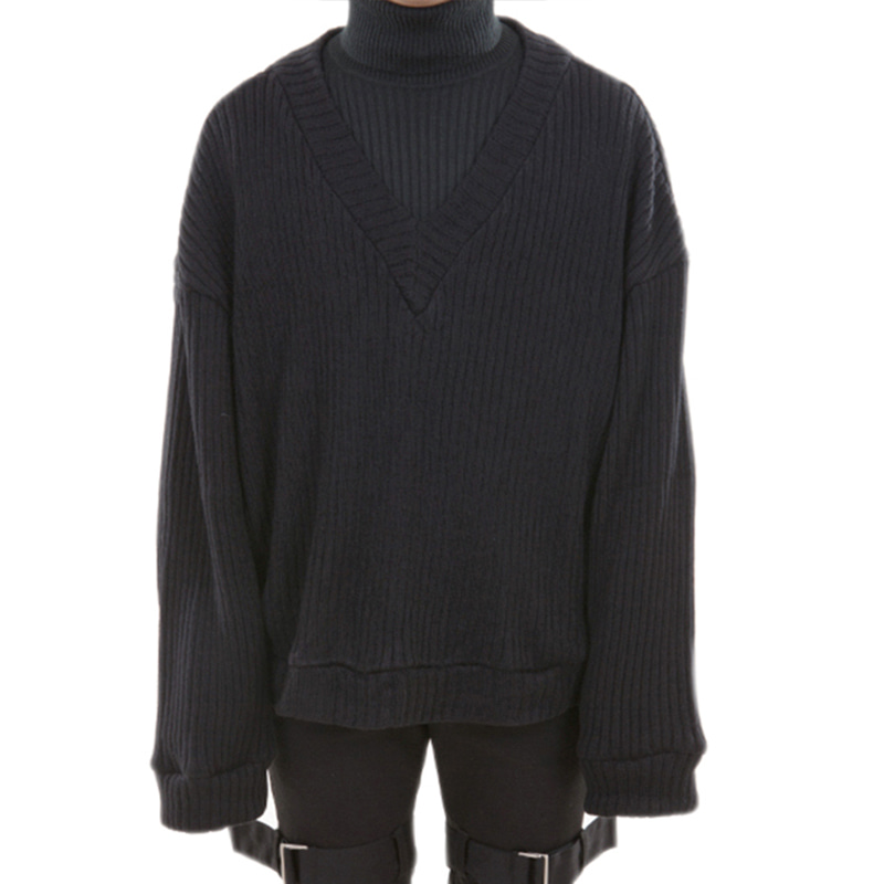 141 V.NECK KNIT (BLACK)