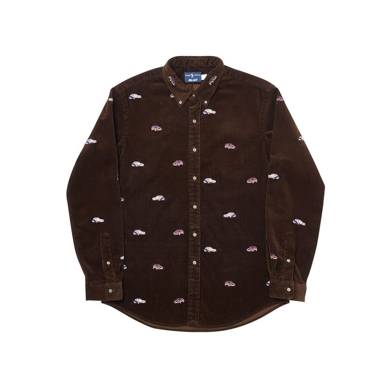 PALACE RALPH LAUREN EMBROIDERED CORD GTI SHIRT MOHICAN BROWN