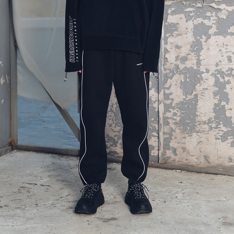 SL LOGO SCOTCH LINE STRING TRACK PANTS MFETP002-BK
