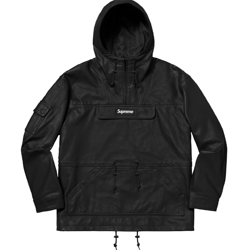 LEATHER ANORAK  BLACK