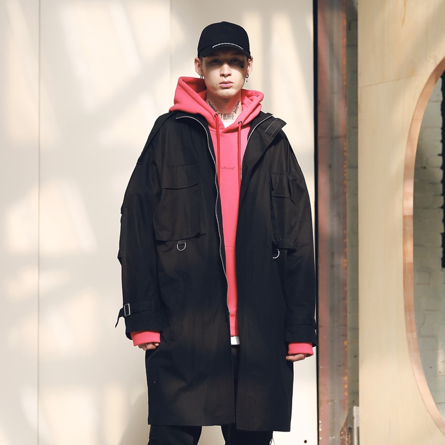 SL LOGO M-51 FISHTAIL LONG COAT MSNCT002-BK