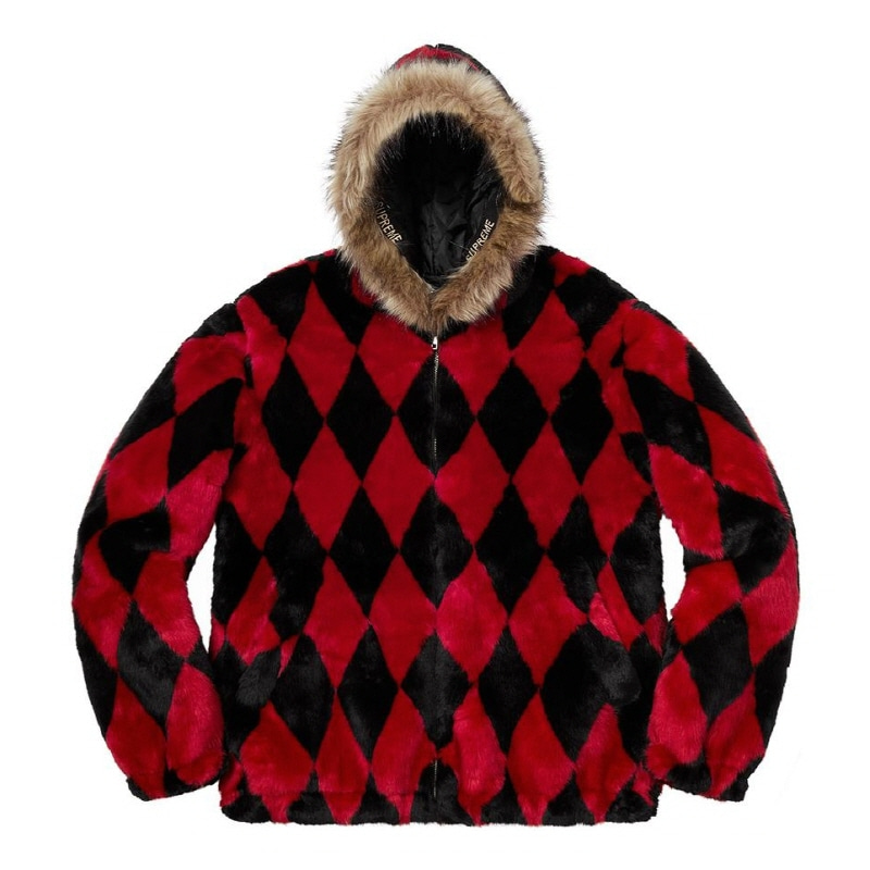 DIAMOND FAUX FUR JACKET RED