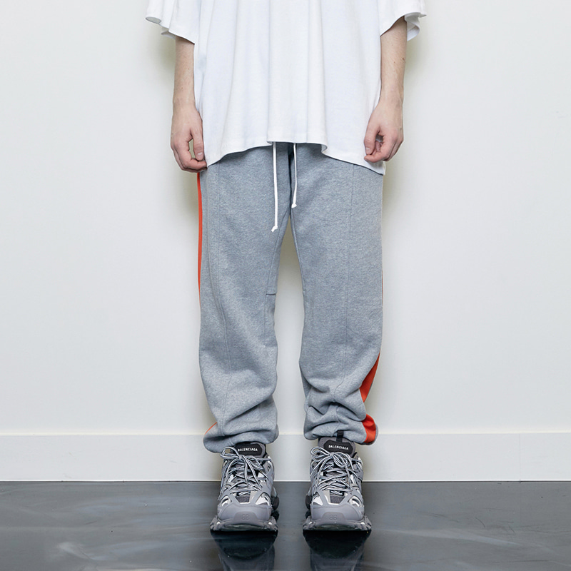 TRACK JOGGER PANTS (GREY/ORANGE)