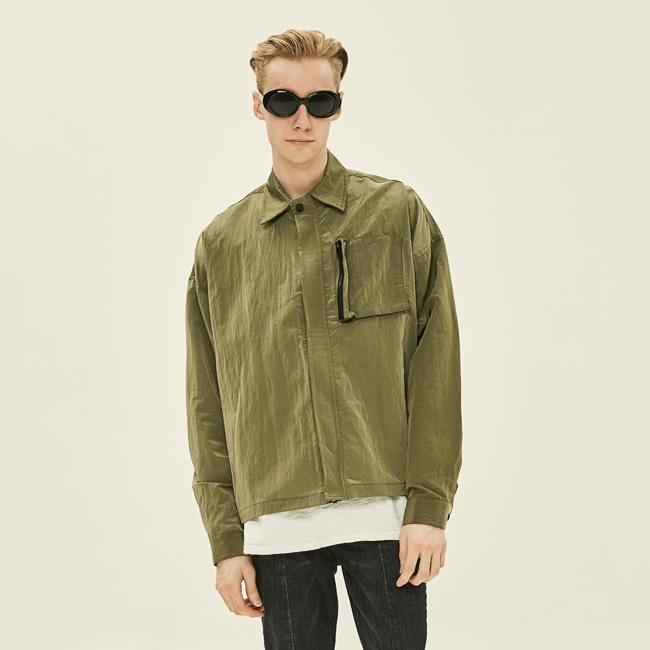 GREEN METAL POCKET JACKET