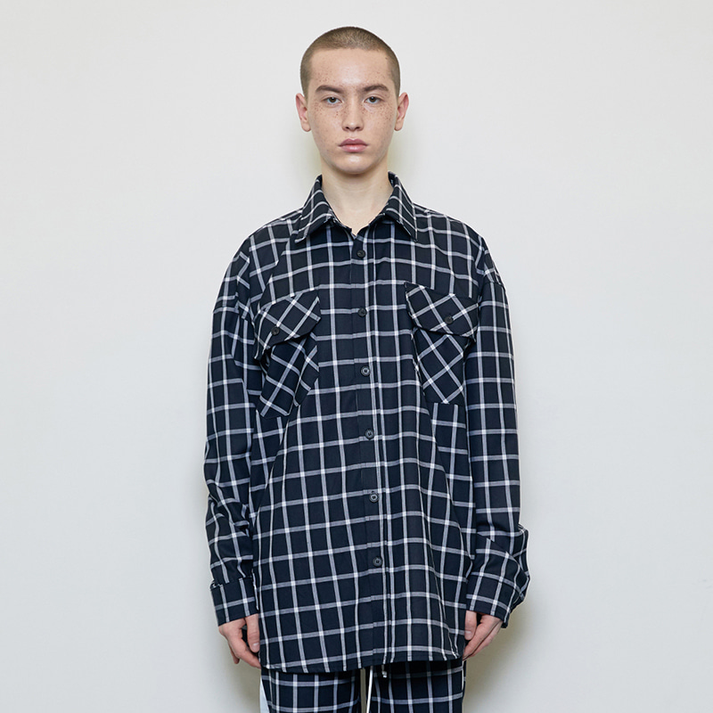 OVERSIZED CHECK SHIRT (BLACK)