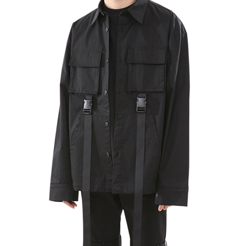 160 BUCKLE POCKET SHIRT (BLACK)