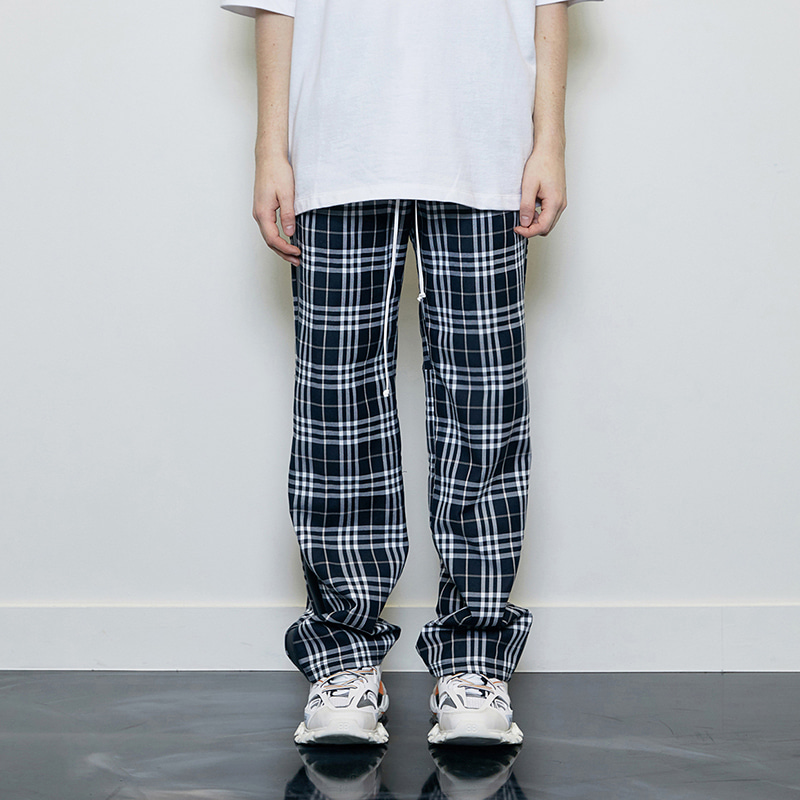 CHECK TRACK PANTS (BLACK)