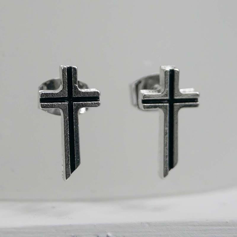 MINI CROSS EARRING SILVER