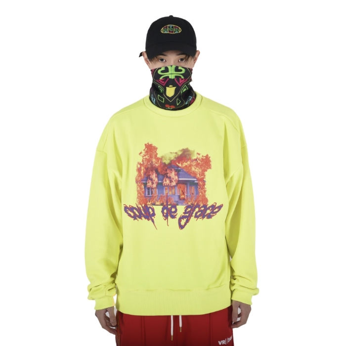 BURNING HOUSE CREWNECK (NEON GREEN)