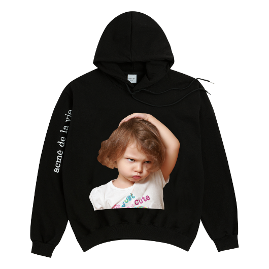 ADLV BABY FACE HOODIE BLACK WHITE T-SHIRT GIRL
