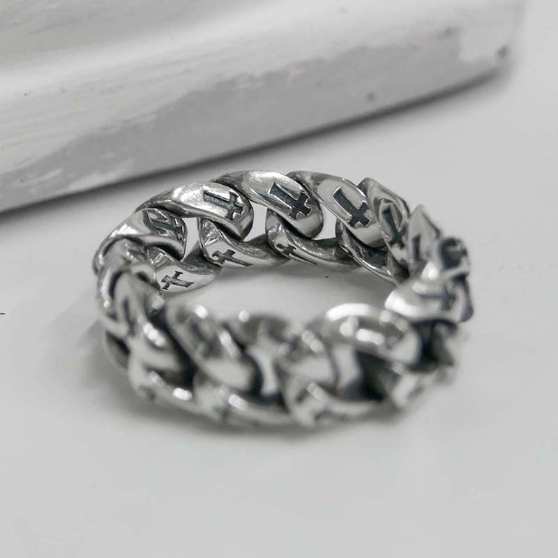 9MM CROSS CHAIN RING