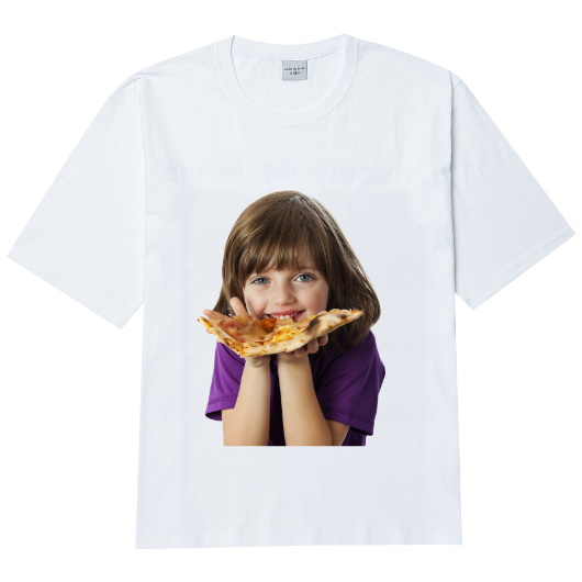 ADLV BABY FACE SHORT SLEEVE T-SHIRT WHITE PIZZA
