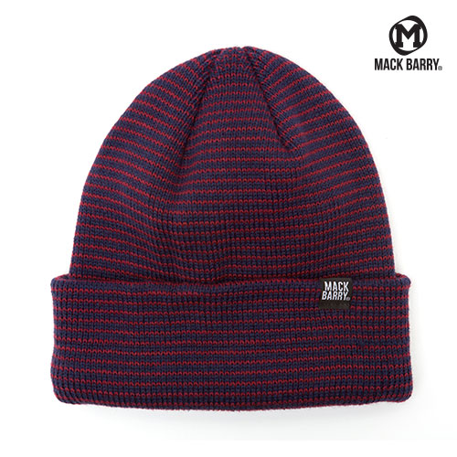 STRIPE HEAVY WEIGHT BEANIE (WINE/NAVY)