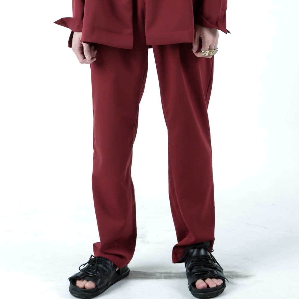 BAND&STRING WIDE PANTS - RED