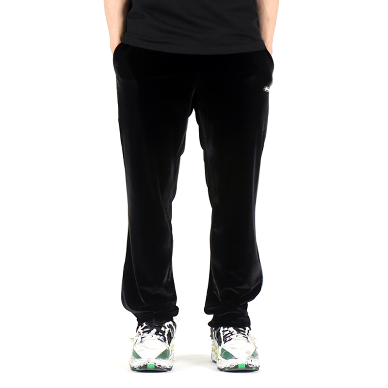 VELOUR REFLECT PIPING SLACKS (BLACK)