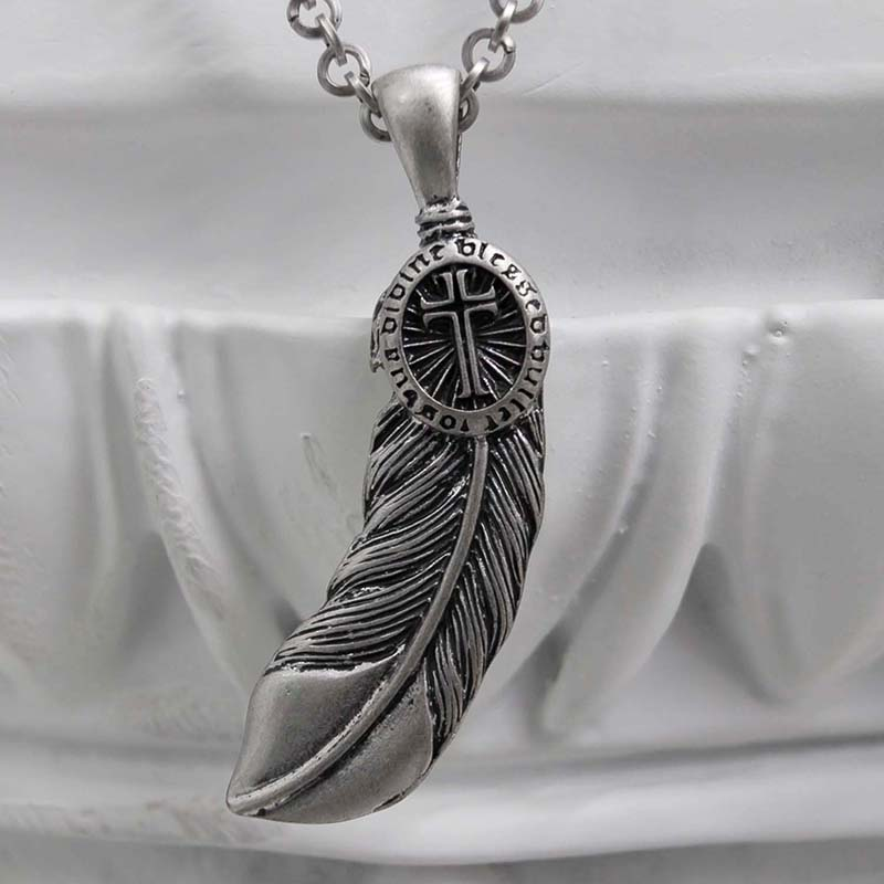 FEATHER CROSS NECKLACE
