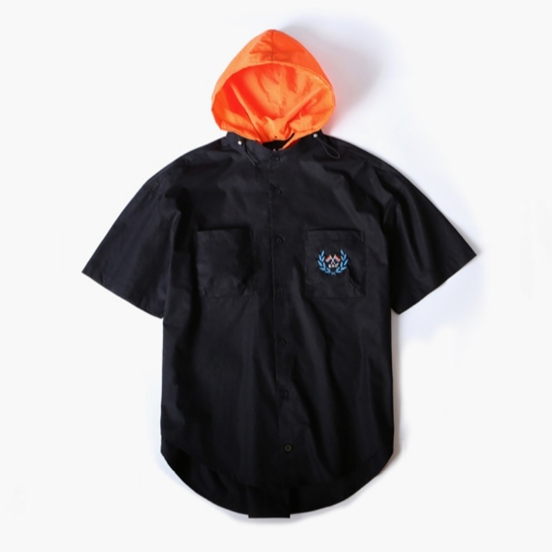 HOODED OVER SHIRTS BLACK