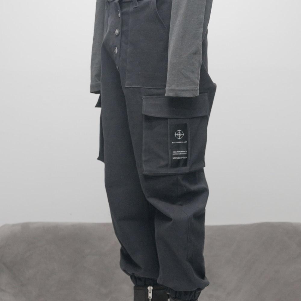 FADED BIG POCKET JOGGER PANTS (DARK GREY)