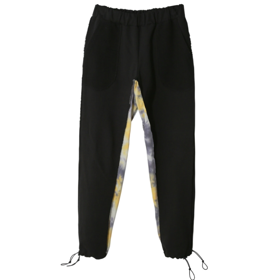 TIE-DYE LAYERED SWEAT PANTS (BLACK)