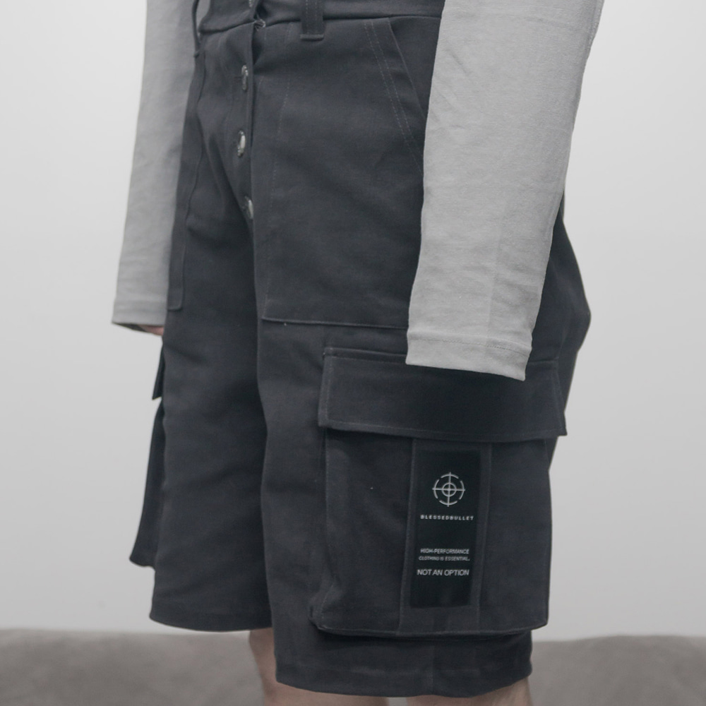 FADED BIG POCKET HALF PANTS (DARK GREY)