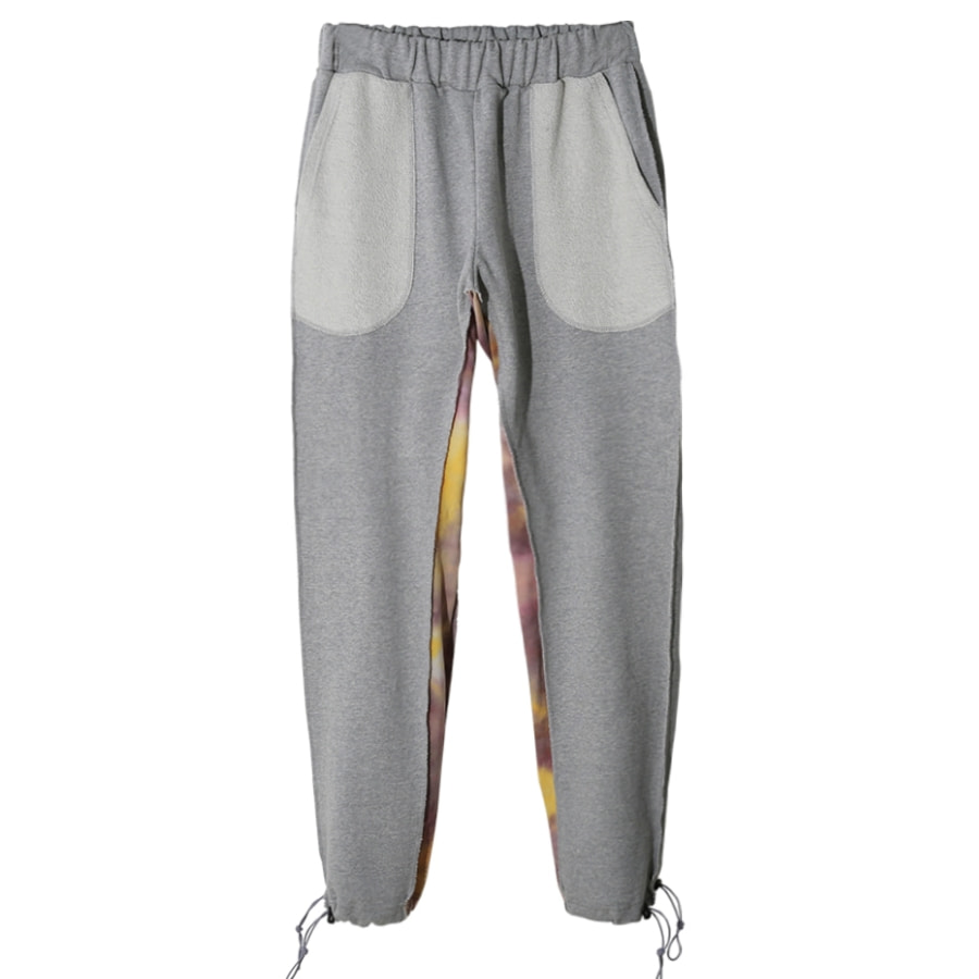 TIE-DYE LAYERED SWEAT PANTS (GREY)