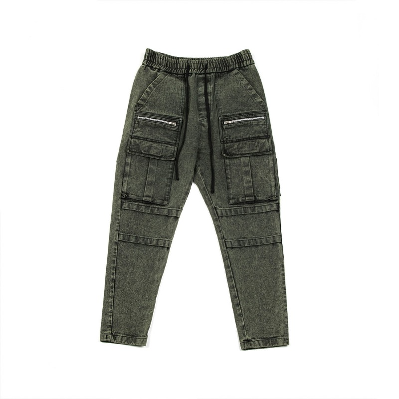 STONE WASHED DENIM JOGGER PANTS GREEN