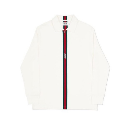 VERTICAL WEAVE ZIP POLO WHITE