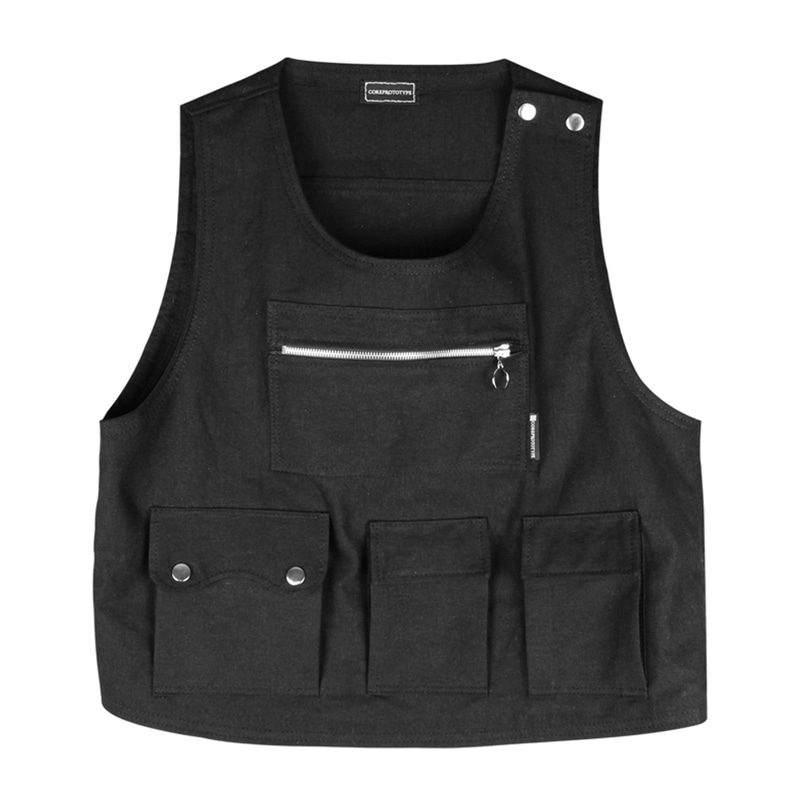 CROP POCKET VEST V3 (BLACK)