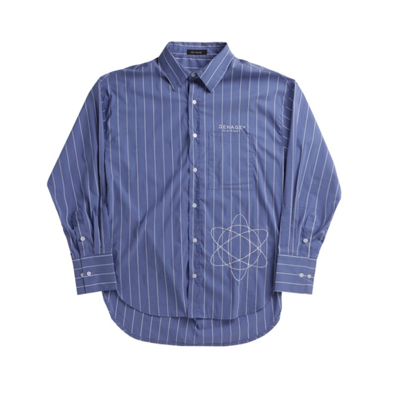D.E STRIPED OVER SHIRT BLUE