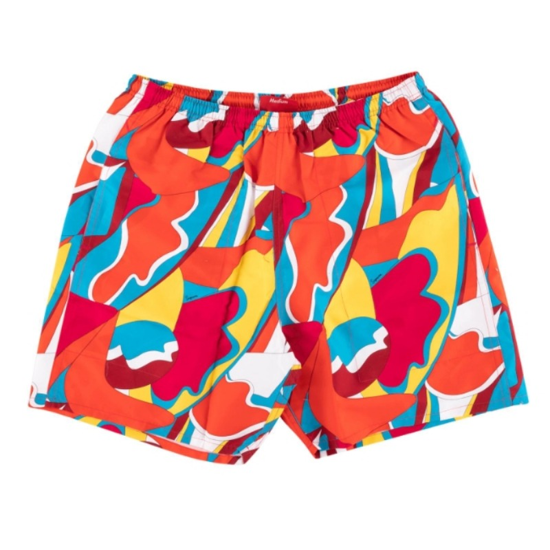 ABSTRACT WATER SHORTS RED