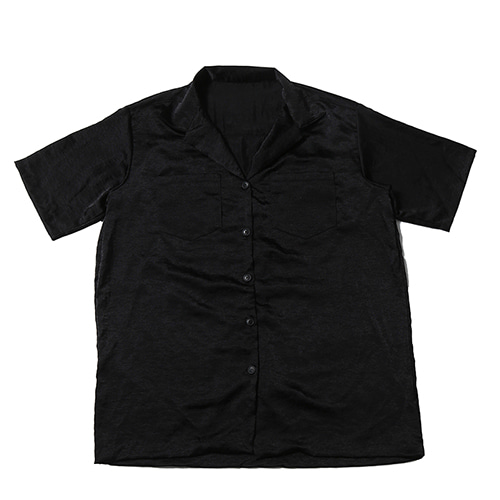 WASHER SILK SHIRTS BLACK