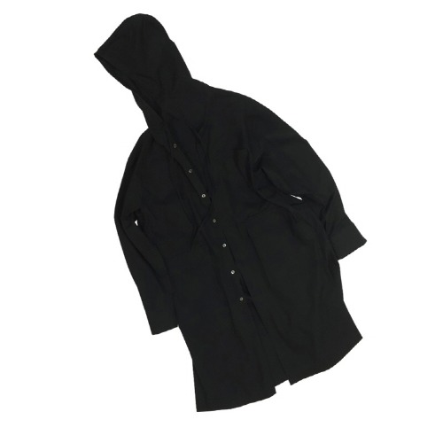 HOOD TRENCH SHIRT BLACK