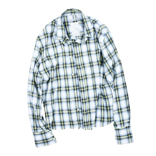 CROP CUT CHECK SHIRT LEMON YELLOW