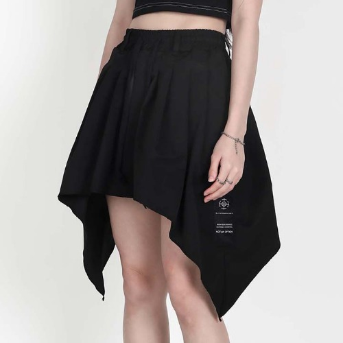 WOMEN U LINE BENDING SKIRT BLACK