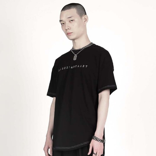 STITCH LOGO SHORT SLEEVE SHIRT BLACK