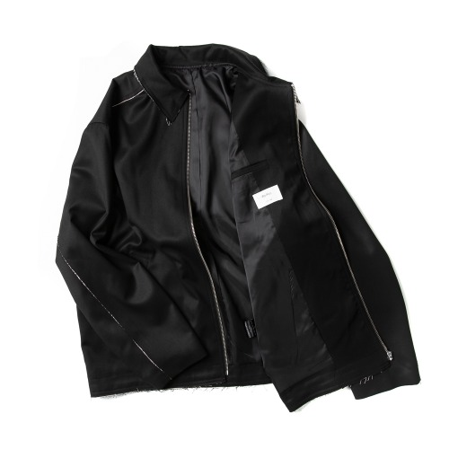 MUSLIN RAW CUT ZIP JACKET