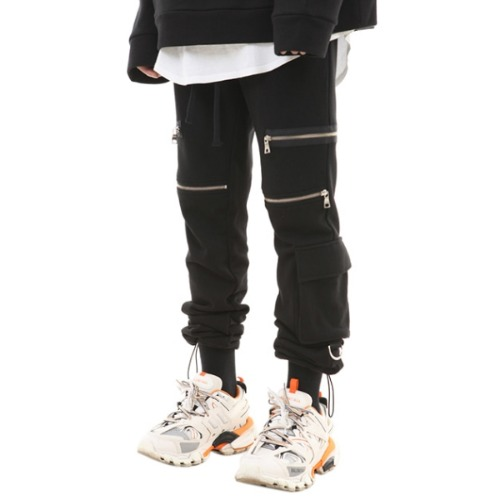 183 ZIPPER POCKET STRING JOGGER PANTS