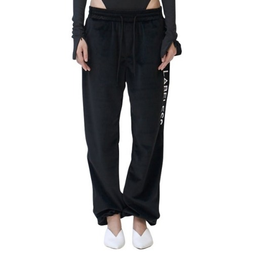 SIDE LOGO SILKY LOUNGE TROUSERS BLACK