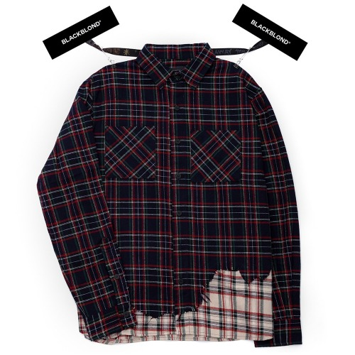 BBD LAYERED CHECK SHIRT NAVY