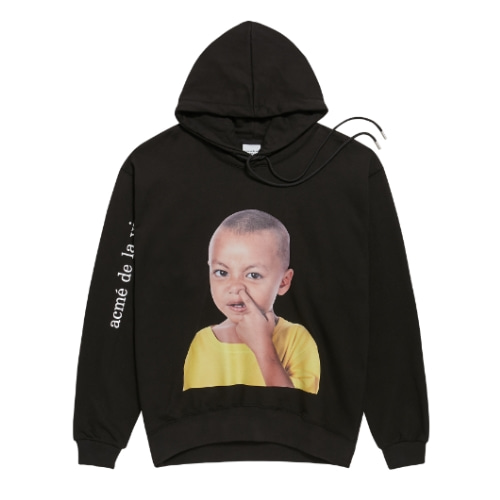 ADLV BABY FACE HOODIE BLACK YELLOW T-SHIRTS