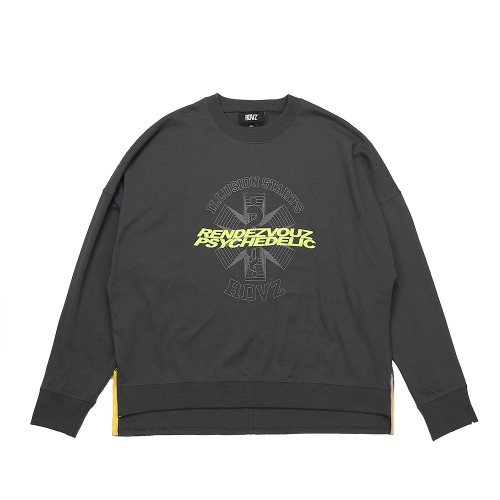 GRAPHIC LOGO CREWNECK LONG SLEEVE CHARCOAL
