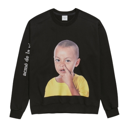 ADLV BABY FACE SWEAT SHIRTS BLACK YELLOW T-SHIRTS
