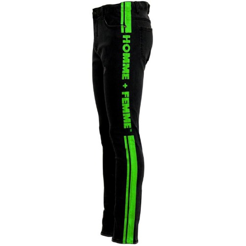 STRIPE LOGO DENIM BLACK/NEON GREEN