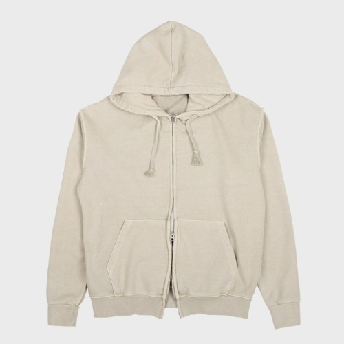GARMENT DYED HOOD ZIP-UP OATMEAL